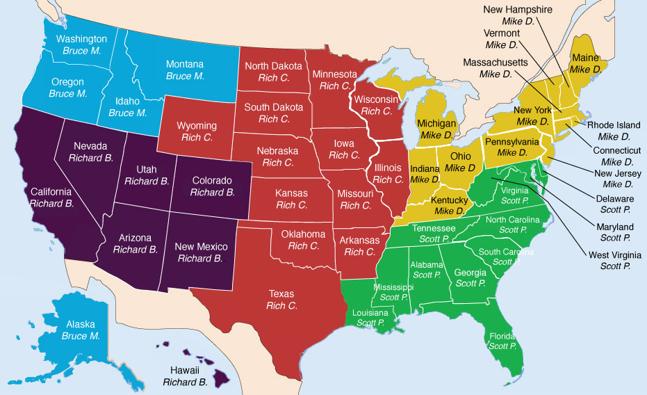 USA Sate Map Regions