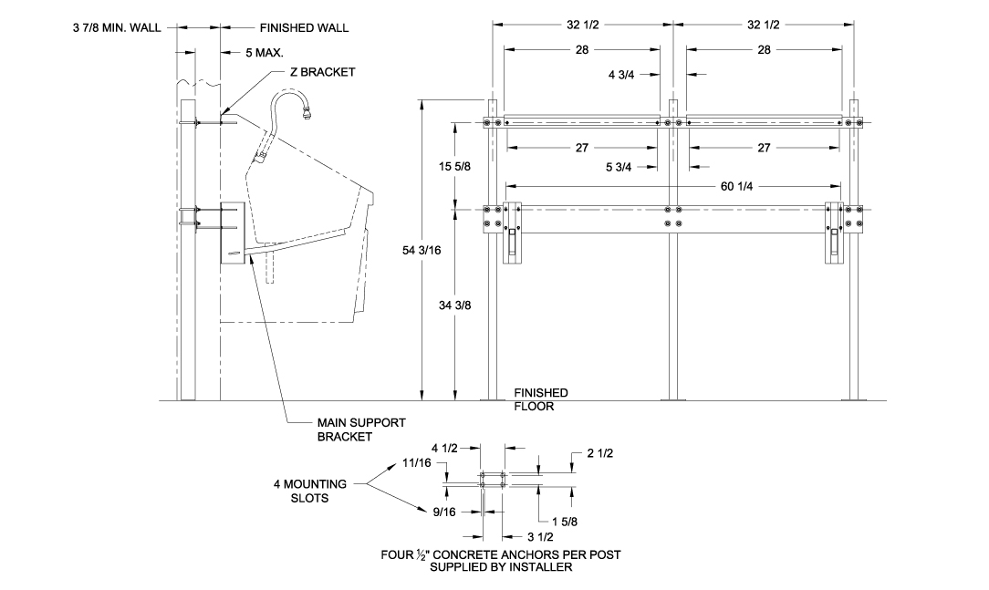 SS64 Recommended Optional In-Wall Chair Carrier System